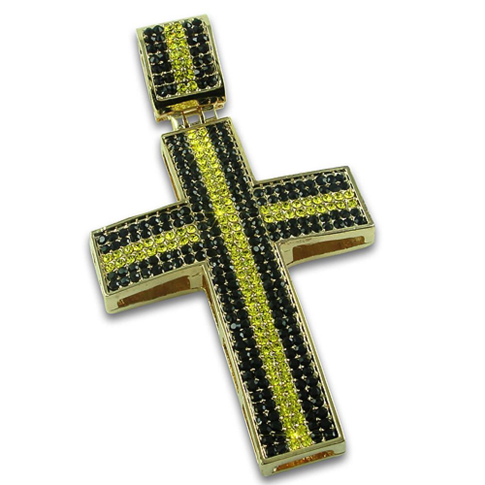 Thick Stripe Black and Yellow Gold Cross