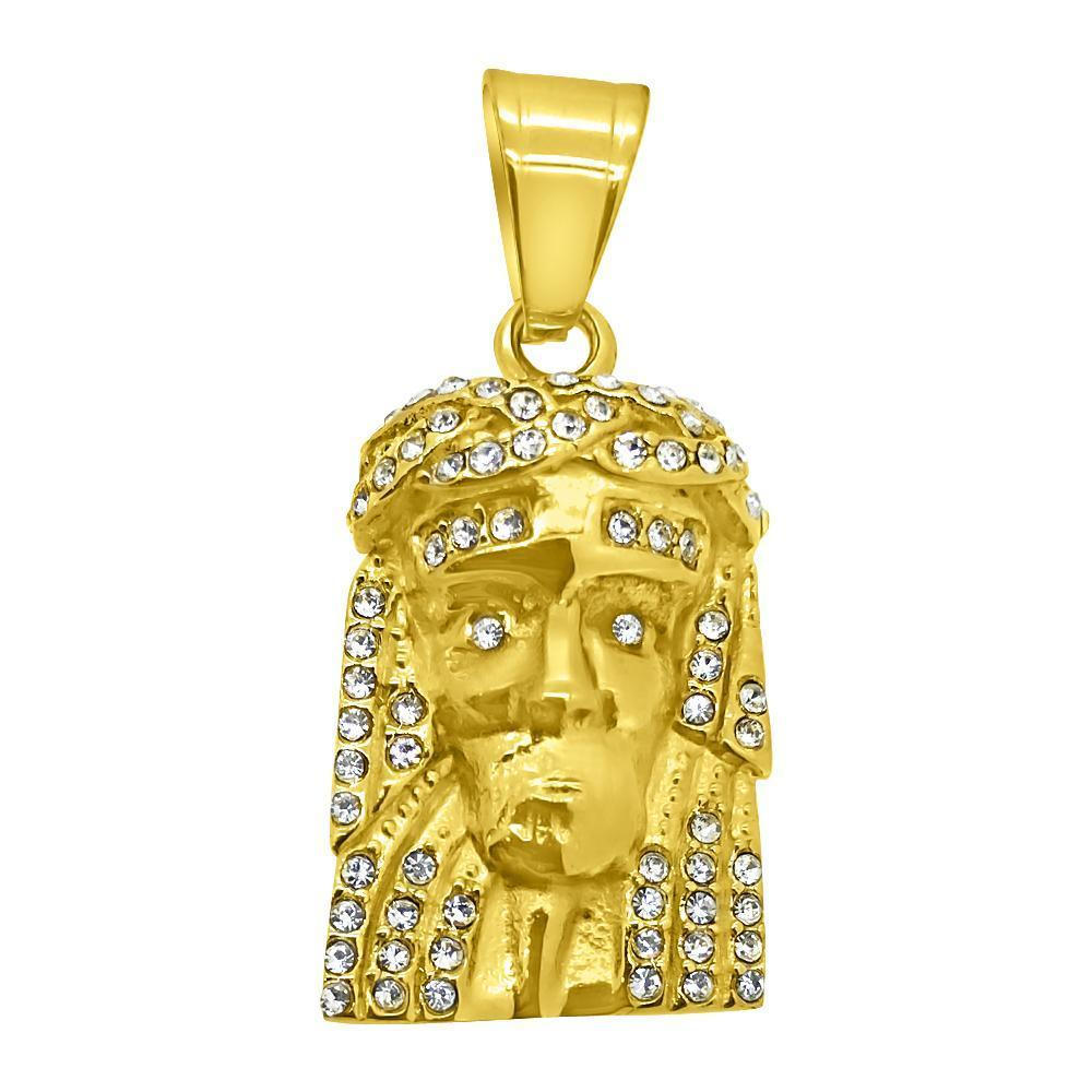 Micro Gold Jesus Stainless Steel Pendant