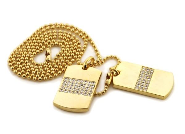 Double Dog Tag Ice Bars Gold Set