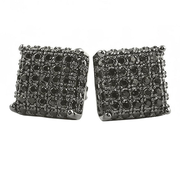 3D Square Black CZ Earrings