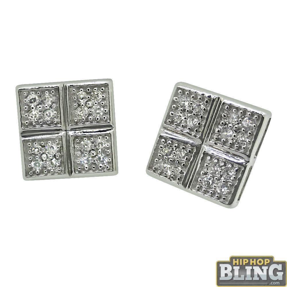.925 Sterling Silver Quad Box CZ Earrings