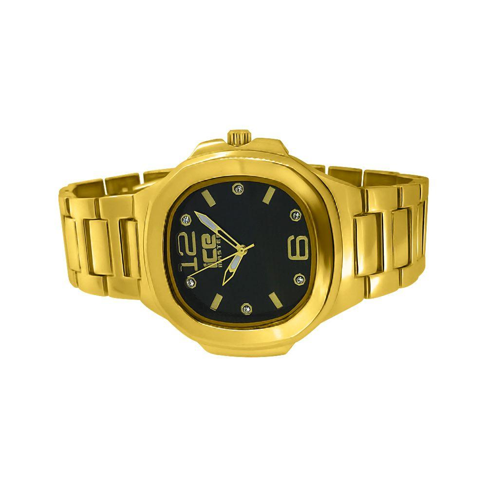Gold Modern Fashion Metal Watch Black Dial