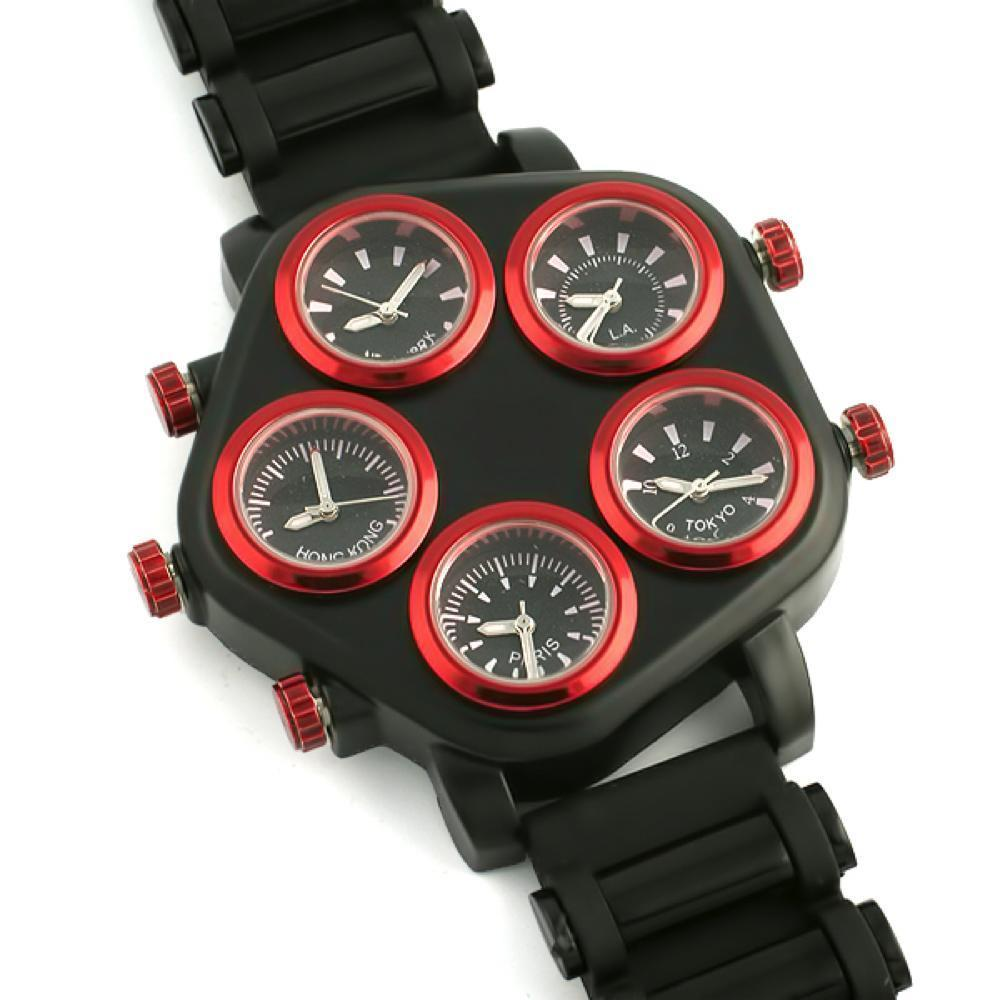 All Working 5 Time Zone Watch Red & Black