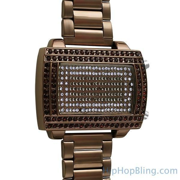 LED Digital Block Face Brown Copper Metal Watch