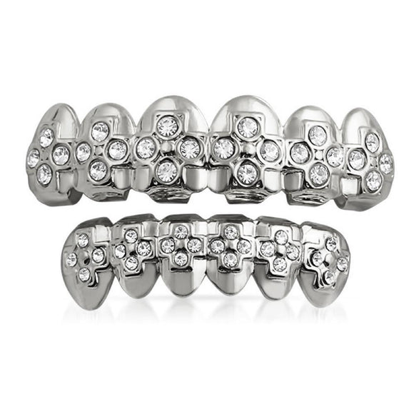 Silver Bling Bling Grillz Ice Cross Teeth Set