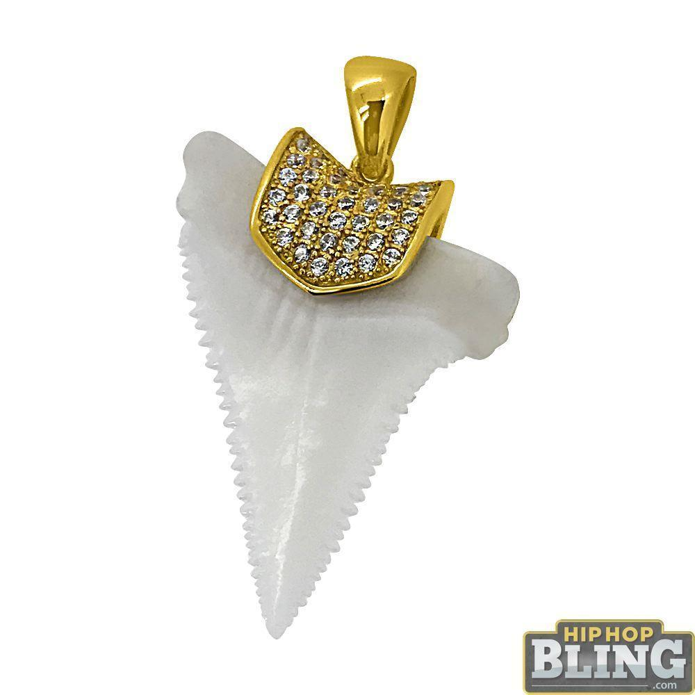Real Shark Tooth Pendant with CZ Holder Gold .925