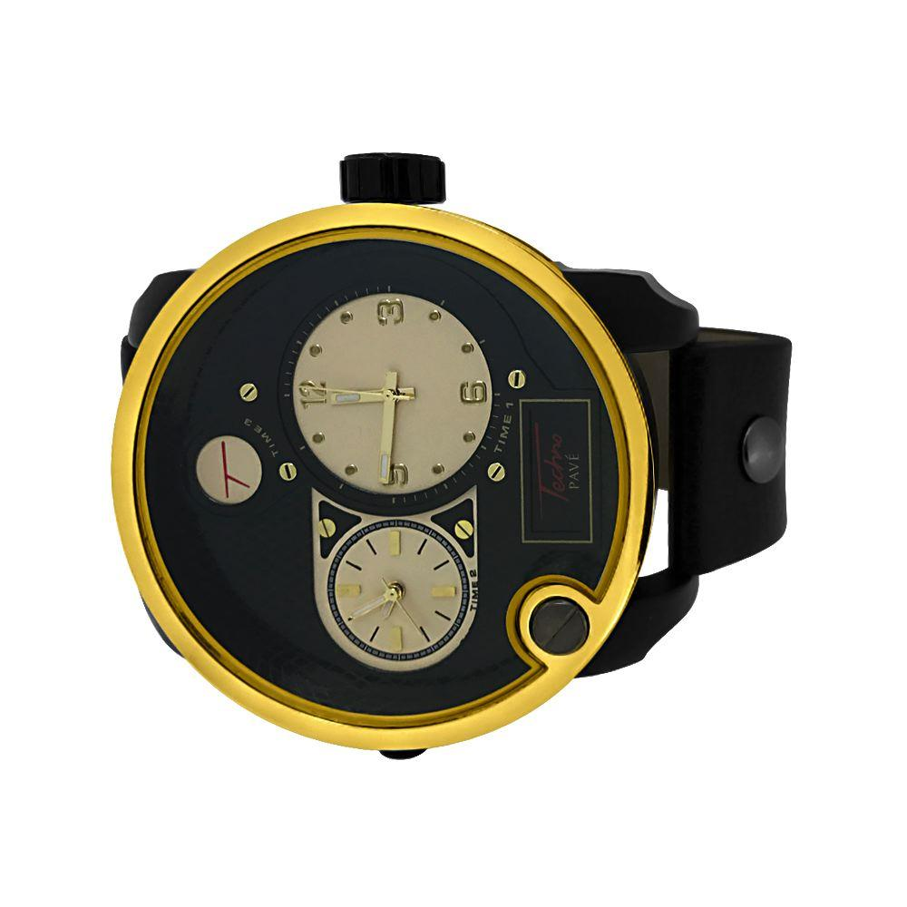 Dual Time Zone Gold Bezel Black Leather Watch