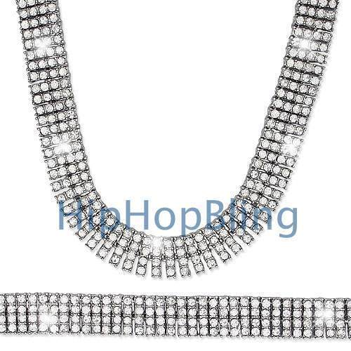 4 Row Silver Iced Out Tennis Chain Bling Bling