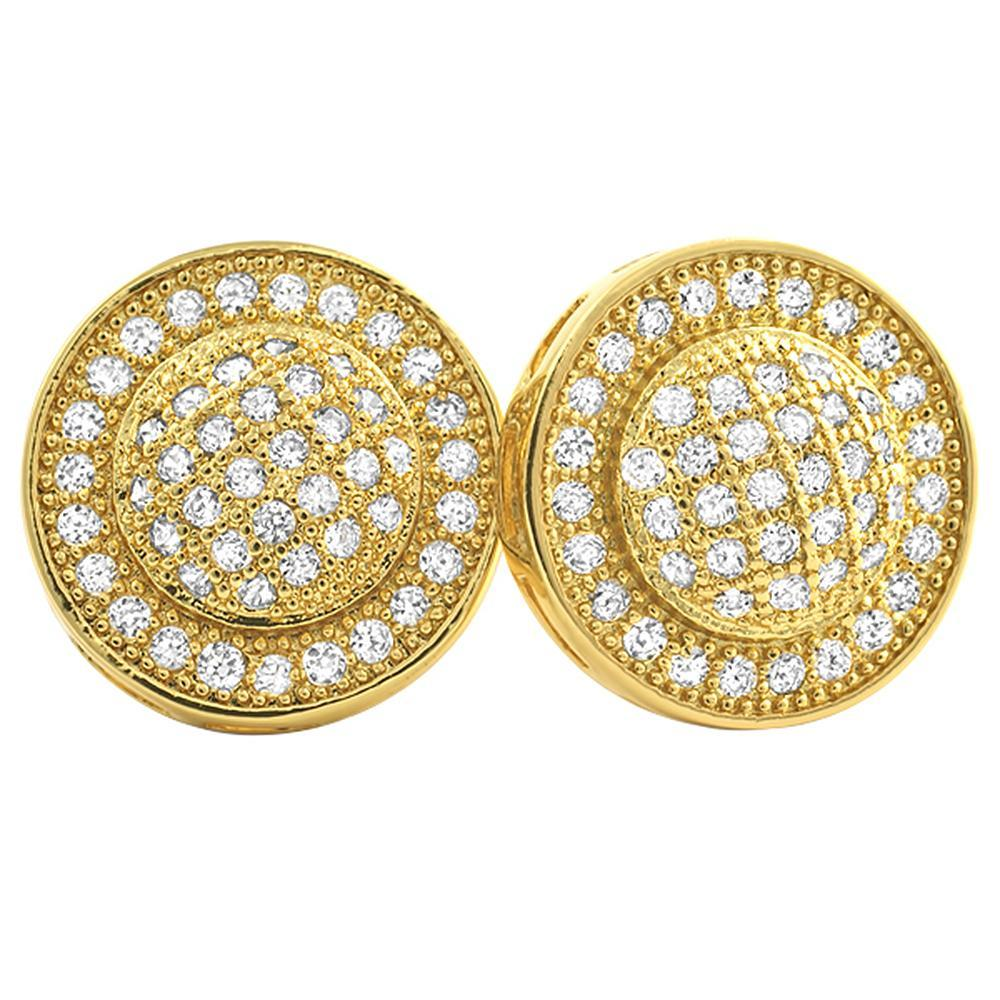 Gold Domed Circle M CZ Micro Pave Bling Bling Earrings