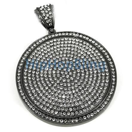 Circle of Ice Bling Bling Pendant White on Black