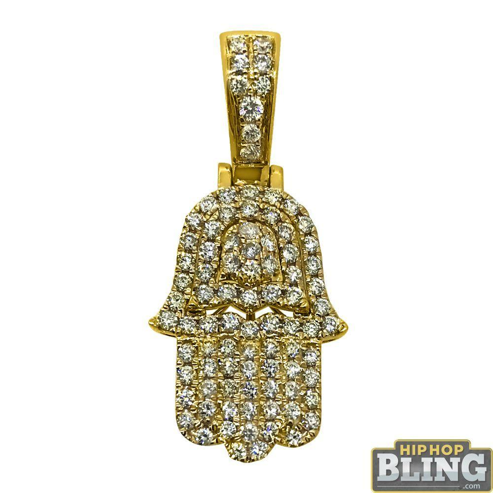 14K Gold Mini Hamsa 1.25cttw Diamond Pendant