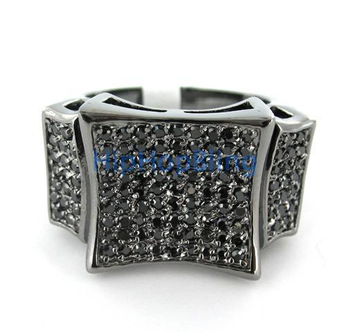 Kite CZ Bling Bling Black on Black Mens Ring