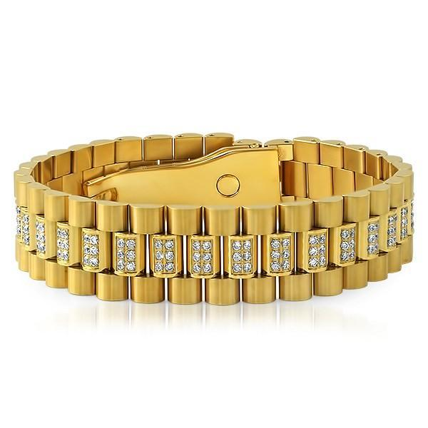 Gold President Bracelet CZ Set Center Links