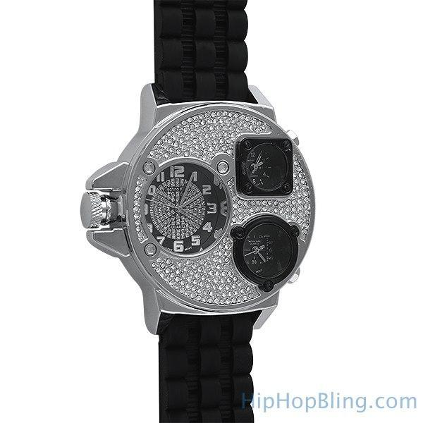 Silver Ice Triple Time Zone Rubber Watch