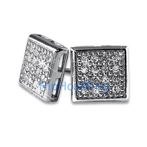 Box 32 Stones CZ Micro Pave Bling Earrings .925 Silver