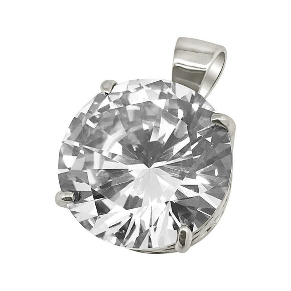 .925 Silver 20MM CZ Solitaire Rhodium Bling Bling Pendant