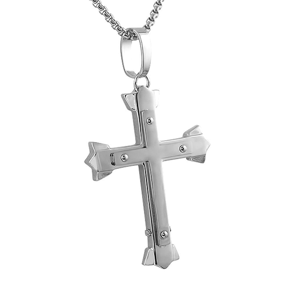 Trident Cross Pendant Stainless Steel