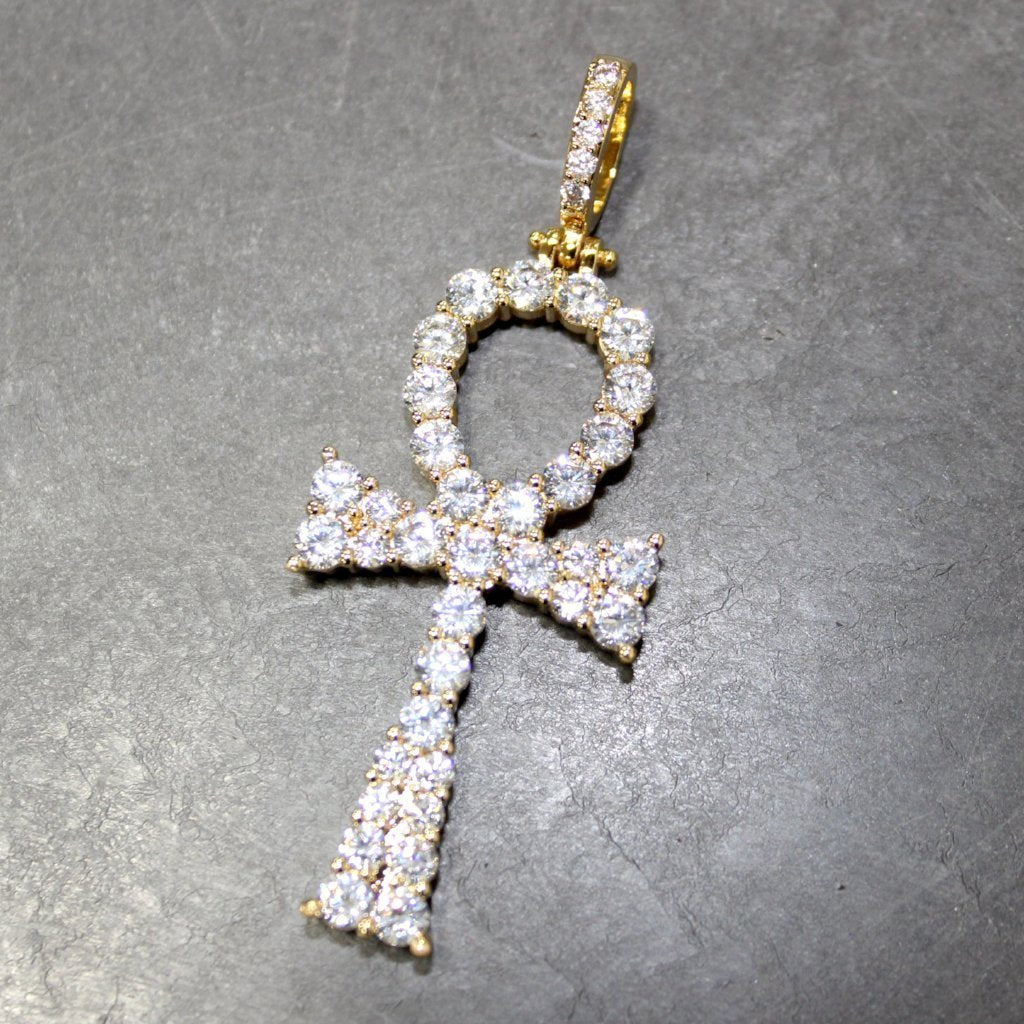 .925 Silver Hot Ankh CZ Bling Bling Gold Cross