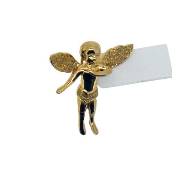 .25ct Diamond Cherub Angel Gold .925 Sterling Silver