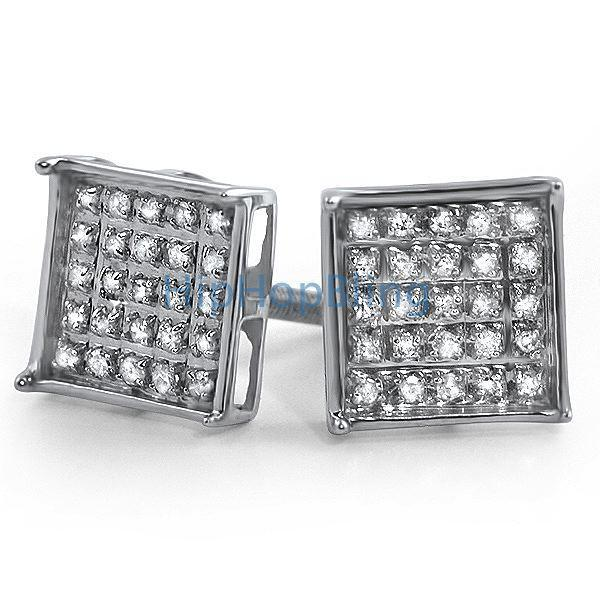 .15ct Diamond Box Micro Pave Earrings .925 Silver
