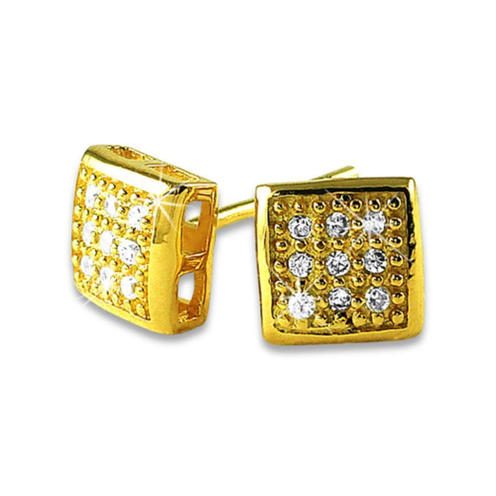Small Puffed Box Gold Vermeil CZ Micro Pave Earrings .925 Silver
