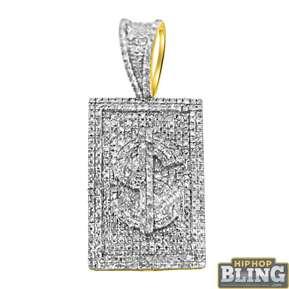 10K Gold $ Money Sign Medallion 1.08cttw Diamonds