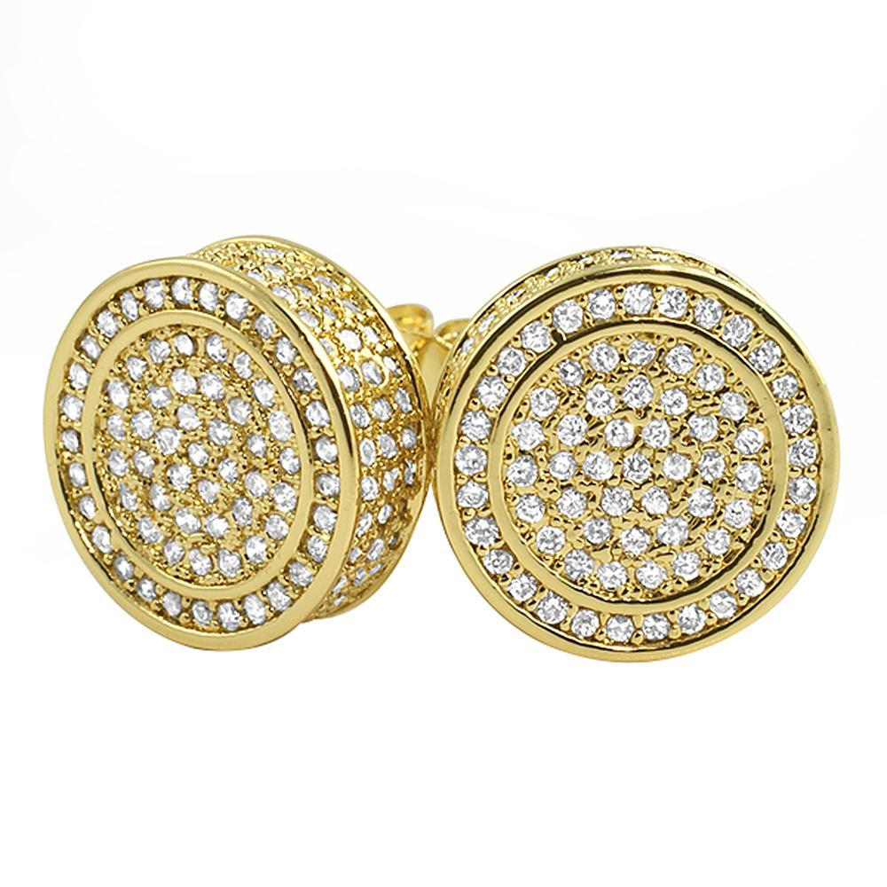 Custom 3D Circle XL Gold CZ Bling Bling Earrings