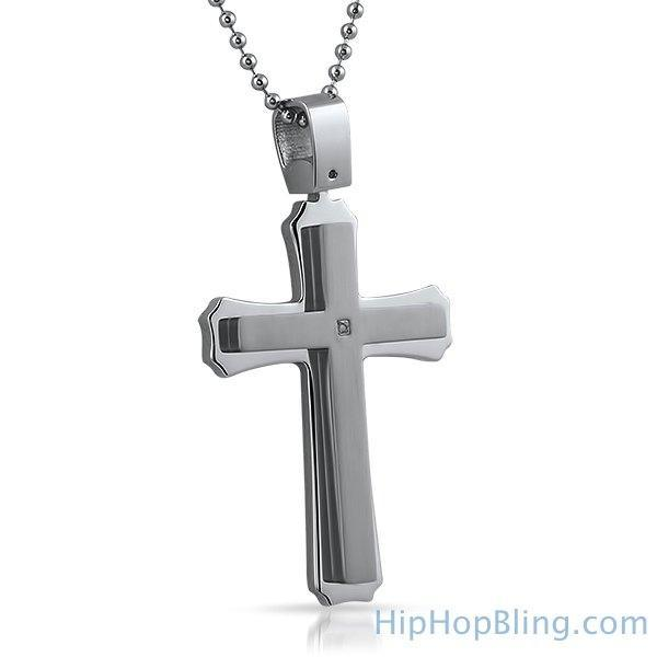 Real Diamond Cross Pendant Stainless Steel