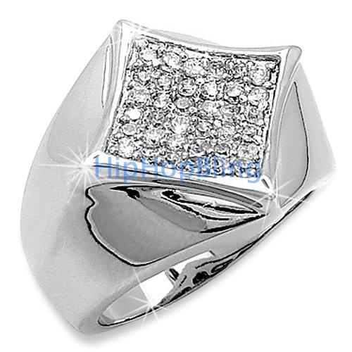 Kite 36 Stones CZ Micro Pave .925 Sterling Silver Mens Ring