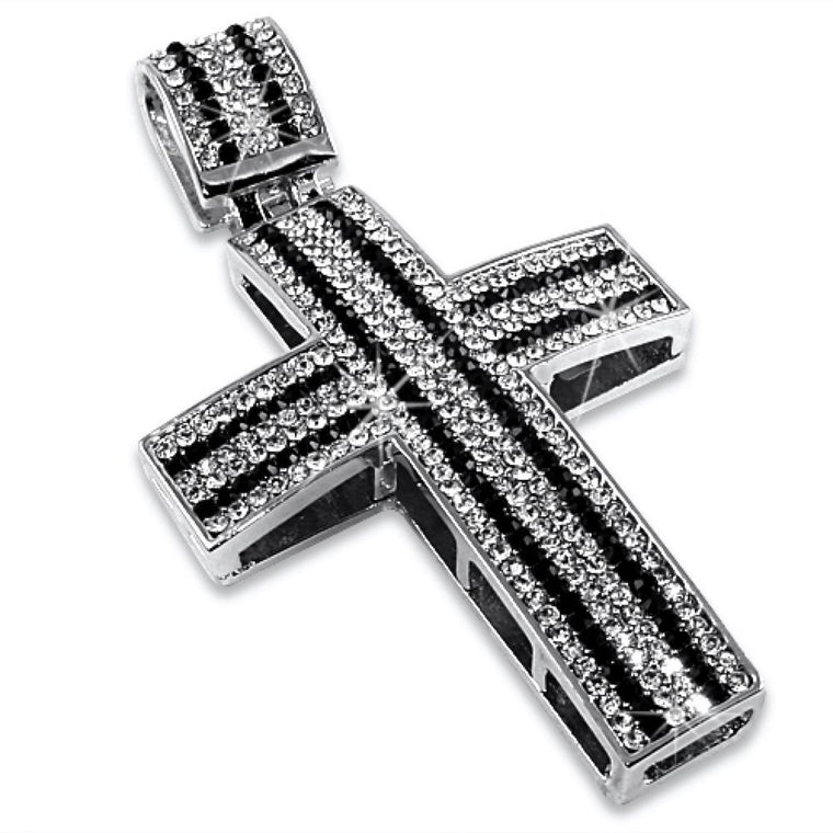 Black  White Striped Cross Pendant