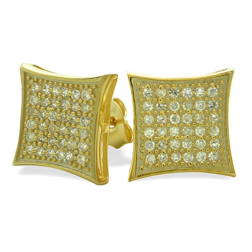 Large Kite Gold Vermeil CZ Micro Pave Earrings .925 Silver