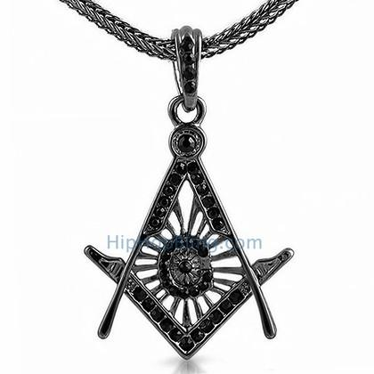 Free Mason Masonic Black Bling Pendant & Chain Small