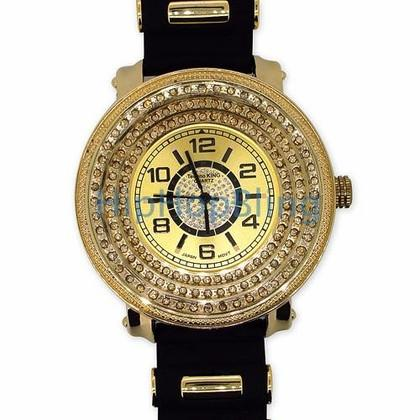 Gold 3 Rows Ice Under Glass Hip Hop Watch