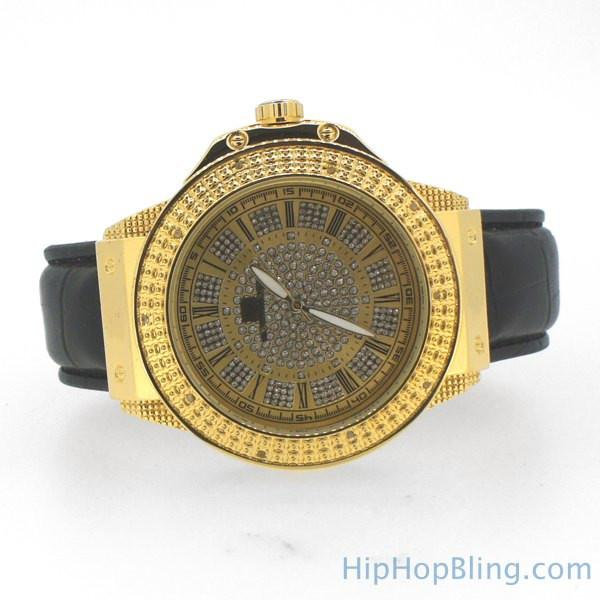 Gold Designer Super Techno Real Diamond Watch
