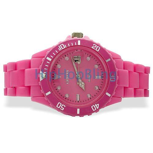 Pink Plastic Submariner Date Fashion Watch