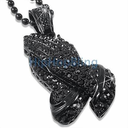 Praying Hands Hematite Black Pendant Free Chain