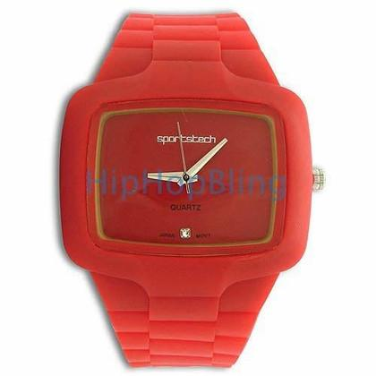Red Rubber Fashion Mens Watch
