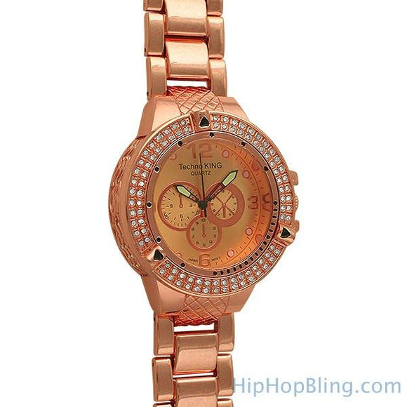 Rose Gold Double Ice Watch BlingBling