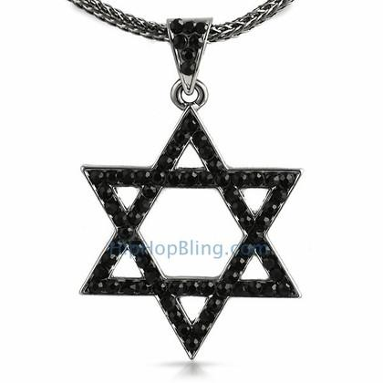Star of David Jewish Black Bling Pendant & Chain Small