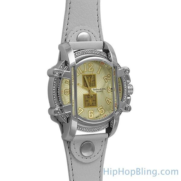 White Leather Caged Fashion Watch