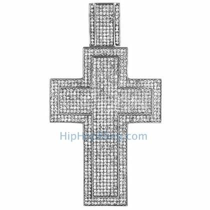 XXL Mega Bling Cross Bling Bling Pendant