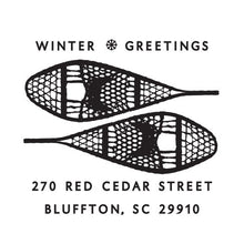 Snowshoes Holiday Personalized Self-inking Round Return Address Stamp