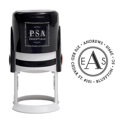 Andrews Monogram Personalized Self Inking Round Return Address Stamp