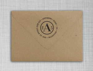 Andrews Personalized Self Inking Round Return Address Stamp on Envelope
