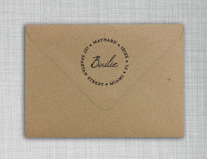 Bailie Personalized Self Inking Round Return Address Stamp on envelope