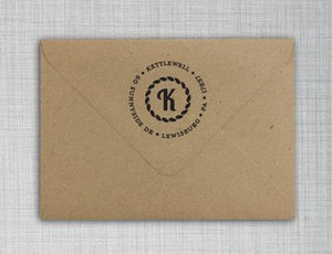 Baker Personalized Self Inking Round Return Address Stamp on envelope