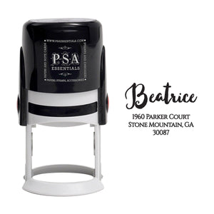 Beatrice Personalized Self Inking Round Return Address Stamp