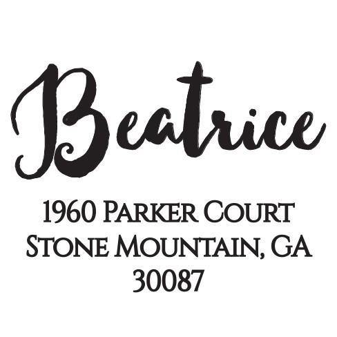 Beatrice Personalized Self-inking Round Return Address Stamp on Envelope