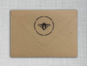 Bee Return Address Self Inking Stamp Envelope Style