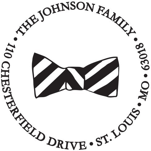 Kelly Hughes Bowtie Personalized Self-inking Round Return Address Stamp